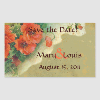 Poppies Memories and French Script Save the Date Rectangular Sticker