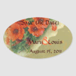 Poppies Memories and French Script Save the Date Oval Stickers