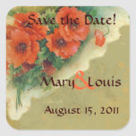 Poppies Memories and French Script Save the Date Square Stickers
