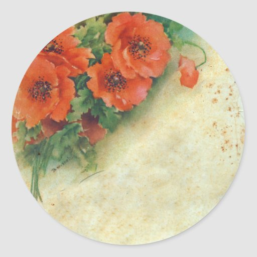 Poppies Memories and French Script Tags Stickers