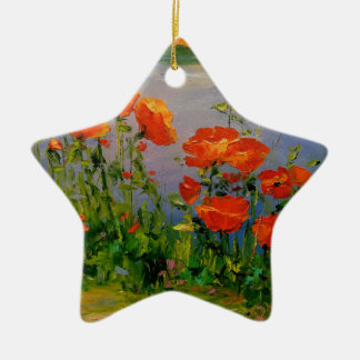 Poppies near the river christmas ornament