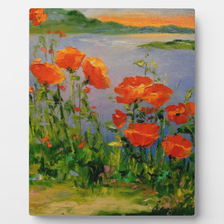 Poppies near the river plaque