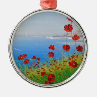 Poppies near the sea christmas ornament