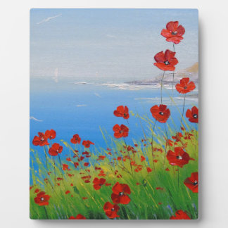 Poppies near the sea plaque