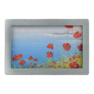 Poppies near the sea rectangular belt buckle