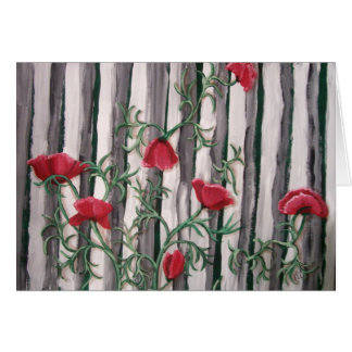 Poppies on a Fence Card