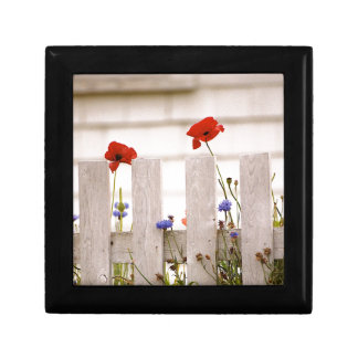 Poppies on a Fence - Maine Landscapes Small Square Gift Box