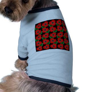 Poppies on Black Pet T-shirt