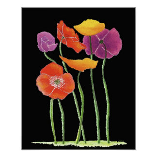 Poppies on Black Print