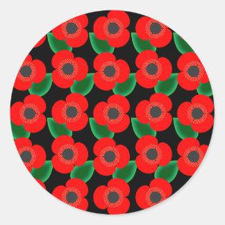 Poppies on Black Sticker