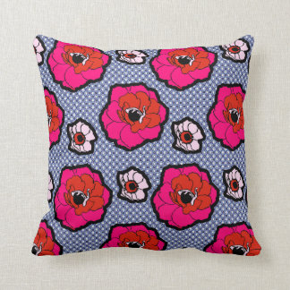 Poppies On Blue Pillow