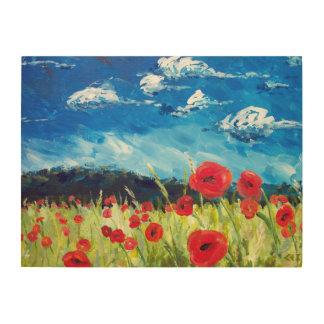 Poppies on Wood Wood Print