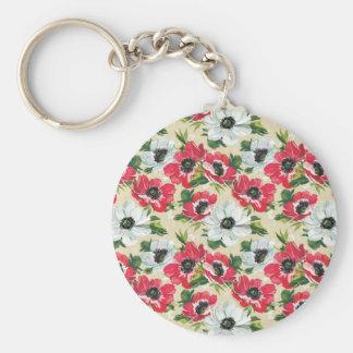 Poppies pattern keychain