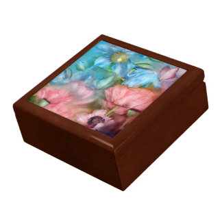 Poppies Peach and Blue Art Giftbox Large Square Gift Box