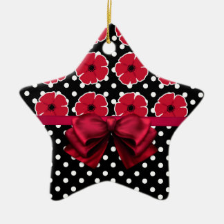 Poppies & Polka Dots Christmas Ornament
