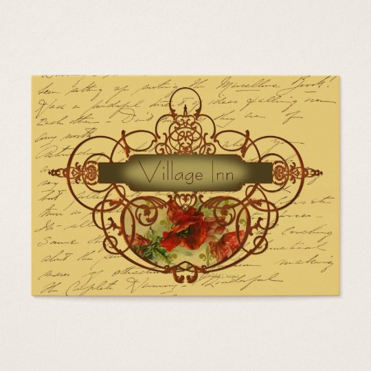 Poppies & Scrolls Steampunk Design Business Card