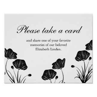 Poppies - Take a Card - Share Memories - Funeral Poster