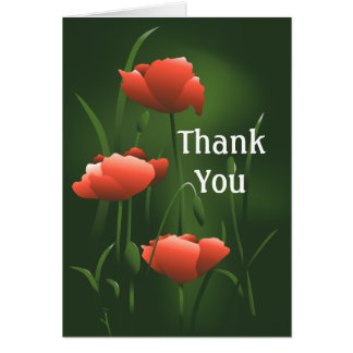 Poppies Thank You Greeting Card