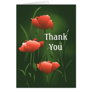 Poppies Thank You Note Card