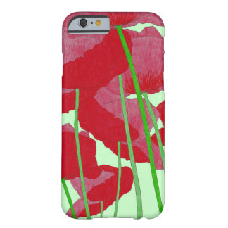Poppies Watercolor Design Bright Red and Green Barely There iPhone 6 Case
