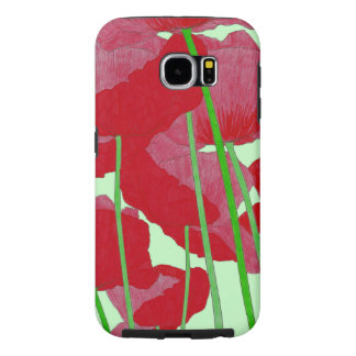 Poppies Watercolor Design Bright Red and Green Samsung Galaxy S6 Cases