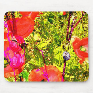 poppies with snails mouse mat