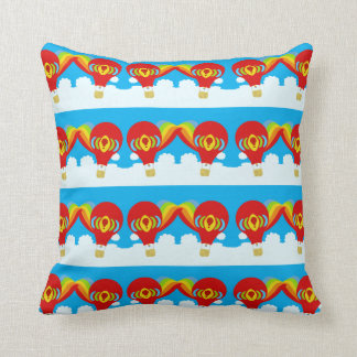 Poppin Red Hot Air Balloons Cushion