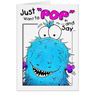 Popping By Blue Fuzzy Monster Birthday Card