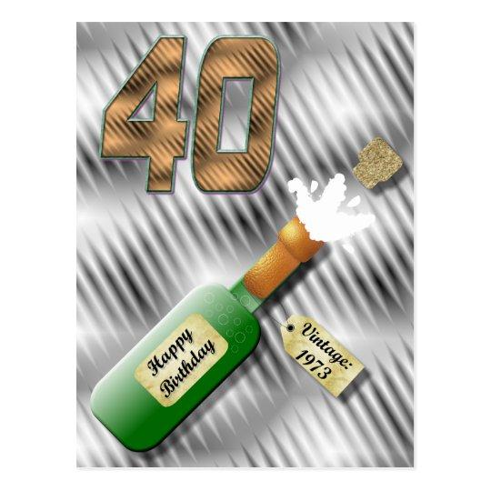 Popping Champagne Bottle 40th Birthday Postcard