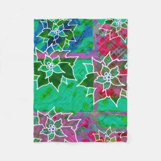 Popping Poinsettias Christmas Fleece Blanket