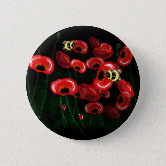 POPPY and BEE art 6 Cm Round Badge