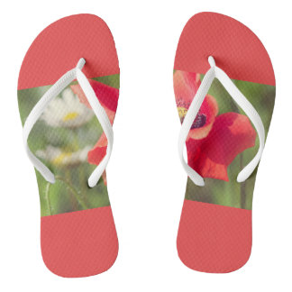 Poppy and daises flip flops