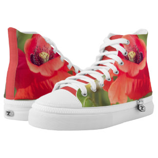 Poppy and daises printed shoes