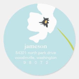 Poppy Blossom Round Address Label Round Sticker