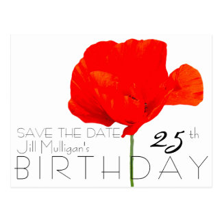 POPPY Collection 25th Birthday Save the Date Postcard