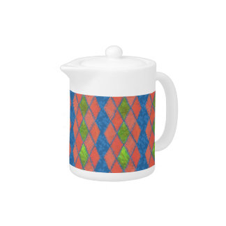 Poppy Colours Faux-patchwork White China Teapot