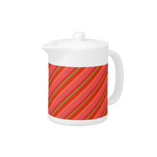 Poppy Colours Snazzy Stripes White China Teapot