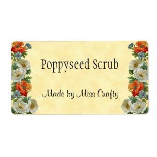 Poppy Cornflowers Custom Soap or Craft Labels