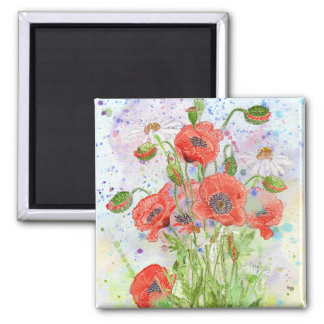 'Poppy Crowd' Magnet