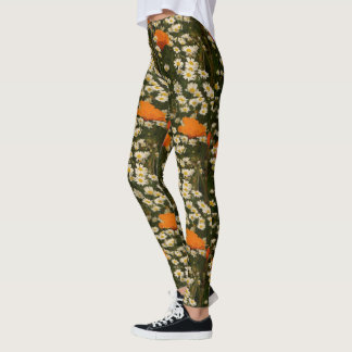 Poppy Daisy Flowers Floral All Over Print Leggings