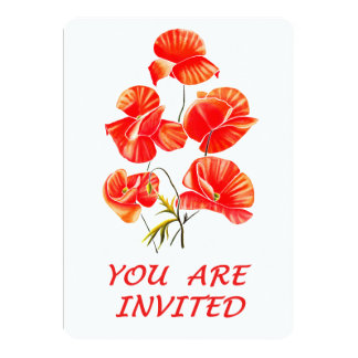 Poppy design wedding invitation