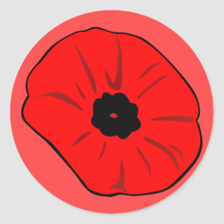 Poppy drawing classic round sticker