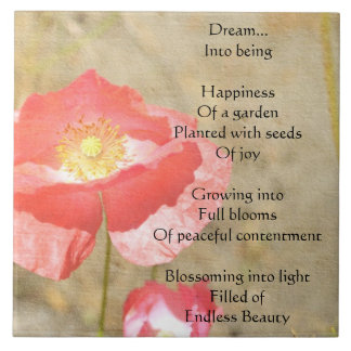 Poppy Expressions Happiness Poem Ceramic Tile