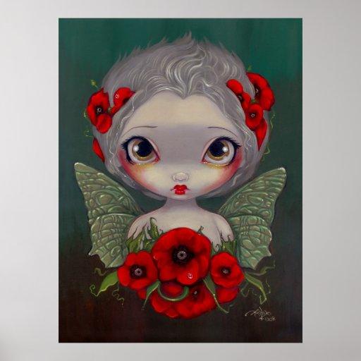 Poppy Fairy big eyed gothic fairy Art Print