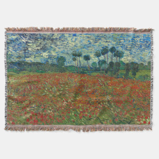 Poppy Field by Vincent Van Gogh Throw Blanket
