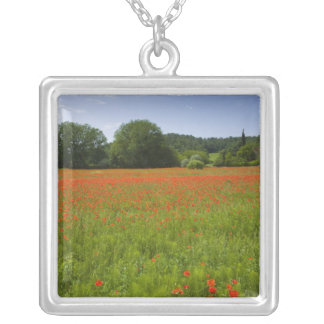 Poppy field, Chiusi, Italy Silver Plated Necklace