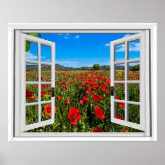 Poppy Field Faux Window View Poster