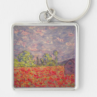 poppy field & purple barn Silver-Colored square key ring