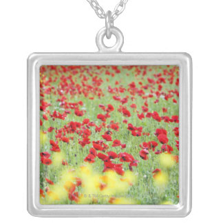 Poppy Field, Siena, Italy Silver Plated Necklace