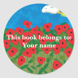Poppy field, This book belongs to:Your name Classic Round Sticker